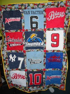 T-shirt quilt for a youngster's birthday